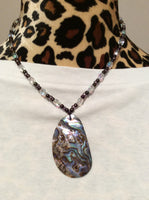 Stunning Abalone Shell and Crystal Handmade Necklace