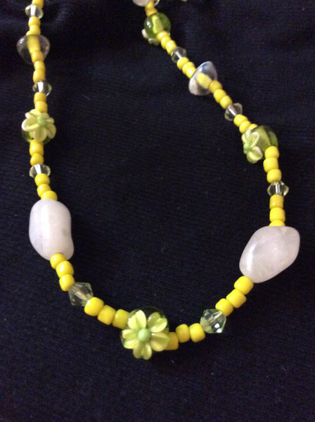 Yellow Pressed Glass Flower Handmade Necklace and Stainless Earrings