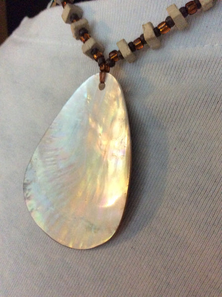Brown and White Reversible Mother of Pearl Handmade Necklace