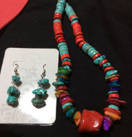 Dyed Howlite Coral & Turqoise Necklace and Earrings