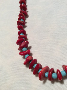 Coral Handmade Necklace and Stainless Earrings
