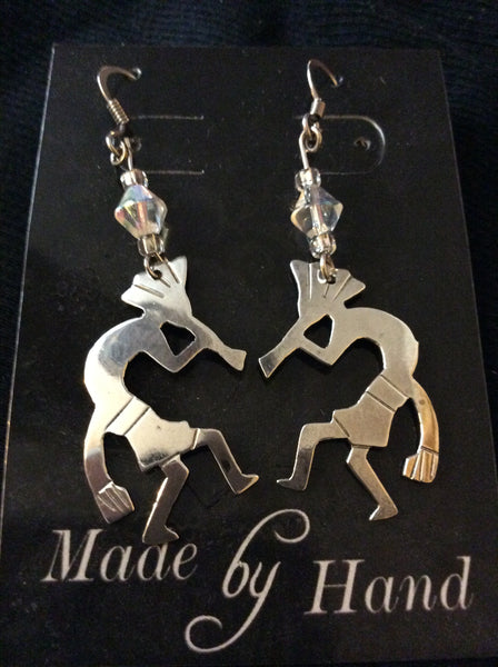 Silver Kokopelli Handmade Earrings