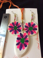 Pink and Purple Hand Painted Pendant and Stainless Earrings
