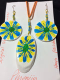 Blue and Yellow Hand Painted  Flower Pendant and Stainless Earrings