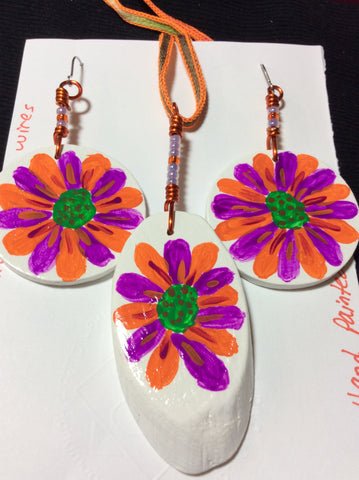 Fuchsia and Orange Hand Painted Pendant and Stainless Earrings
