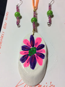 Purple and Neon Pink Hand Painted Pendant and Stainless Earrings