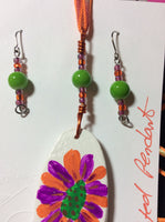 Orange and Fuchsia Hand Painted Pendant and Stainless Earrings.