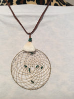 White Handmade Dream Catcher Pendant with Stone Chips