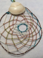 Taupe Green Aqua and White Dream Catcher Handmade Pendant