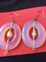 Large Opal Glass Handmade Stainless Earrings
