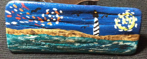 """Starry Night Mini"" Beach Scene Driftwood Painting"