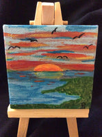 """Sunset on the Sound"" Mini Acrylic Painting"