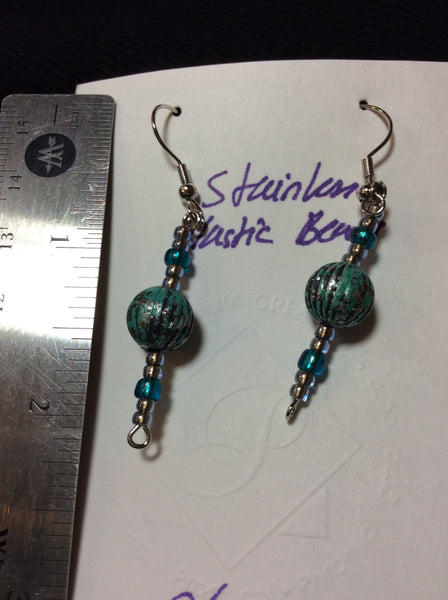 Blue and Silver Handmade Lightweight Stainless Earrings