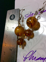Amber Art Glass Handmade Stainless Earrings