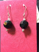 Jet Black Large Faceted Crystal Earrings