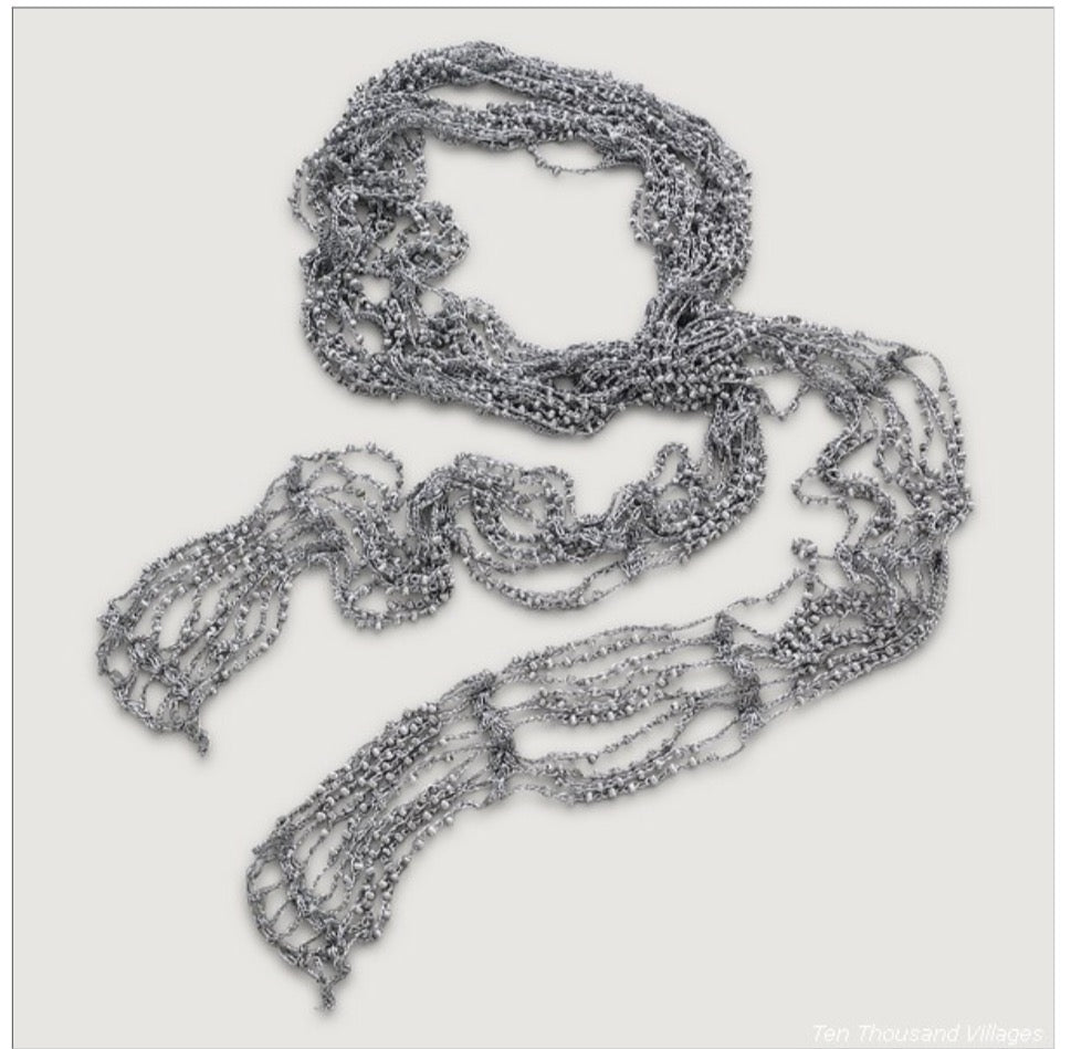 Artistic Beaded Scarf Necklace