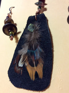 Black Leather and Feather Pendant and Stainless Earrings