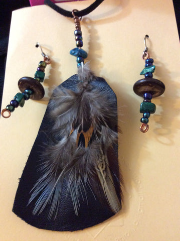 Feather, Leather and Glass Pendant and Stainless Earrings