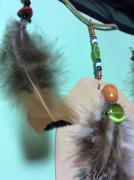 Green Cat's Eye Glass, Feather and Leather Pendant and Stainless Earrings
