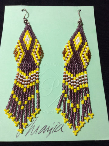 Mauve and Yellow Glass Bead Weaving Stainless Earrings