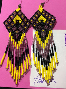 Eagle Glass Bead Woven Stainless Earrings