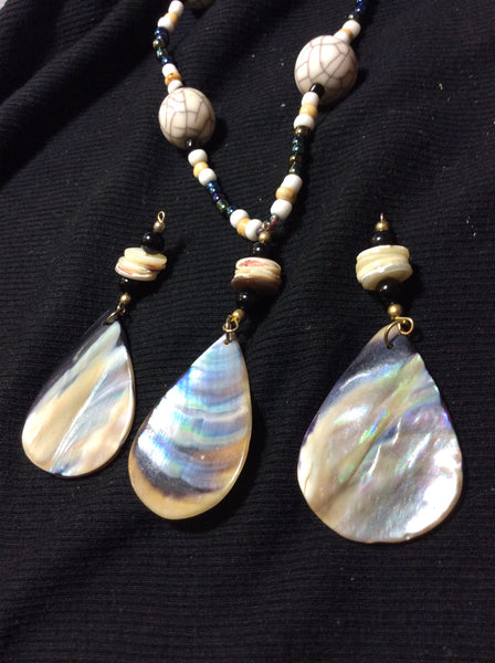 Teardrop Mother of Pearl Necklace with Matching Stainless Earrings