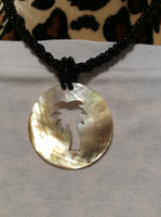 Palmetto Tree Mother Of Pearl Necklace