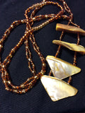 Golden MOP and Brown Glass Handmade Necklace