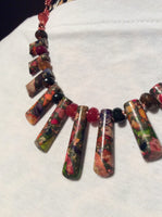 Imperial Jasper Graduated Stone Necklace and Stainless Earrings