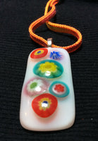 Colorful Millefleurs Handmade Fused Glass Pendant