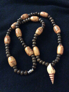 Simple Wood Handmade Necklace with Seashell