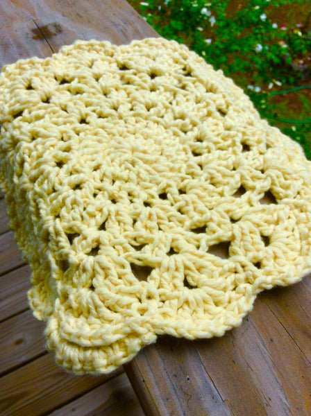 Yellow Round Crocheted Pot Holder