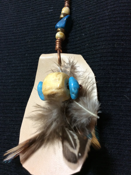 Howlite and Feather Handmade Pendant
