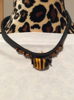 Black and Orange Art Glass Leather Necklace