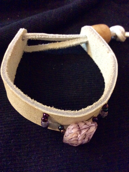 Lavender Glass and Leather Bracelet