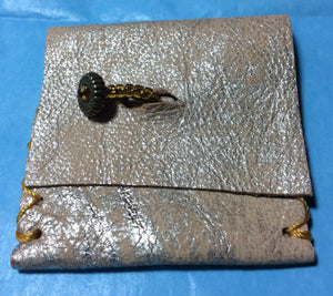 Golden Leather Handmade Coin Purse