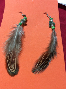 Moss Jasper and Feather Stainless Handmade Earrings