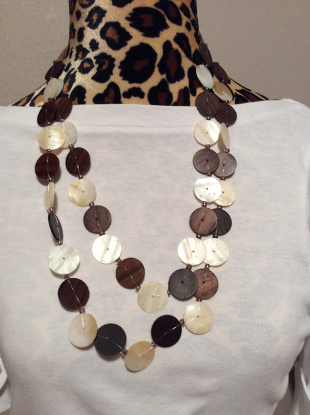 Wood and Mother of Pearl Handmade Necklace