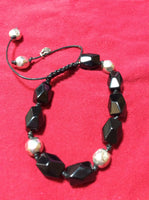 Black Glass and Silver Metal Bracelet