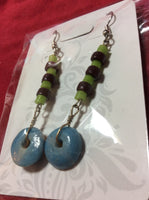 Turquoise And Glass Handmade Stainless Earrings