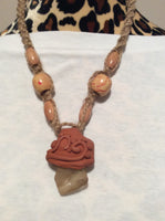 Beach Glass and Clay Macrame' Necklace