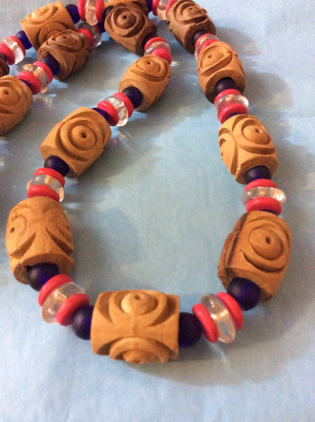 Hand Carved Wood Bead Necklace