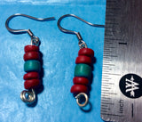 Red and Turquoise Coconut Bead Earrings