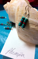 Turquoise and Red Coconut Bead Earrings