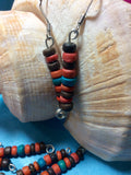 Coral, Tourquoise and Brown Coconut Bead Earrings