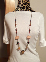 Long Wood and Glass Bead Necklace