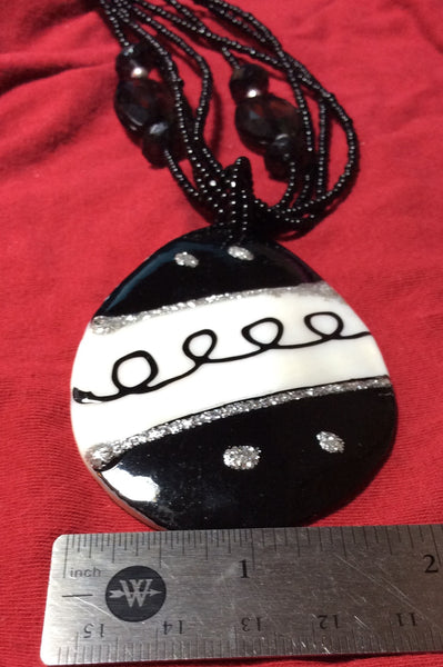 Black and White MOP Pendant Necklace