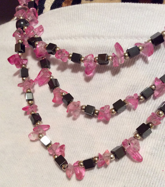 Hematite and Fuchsia Glass Chip Necklace