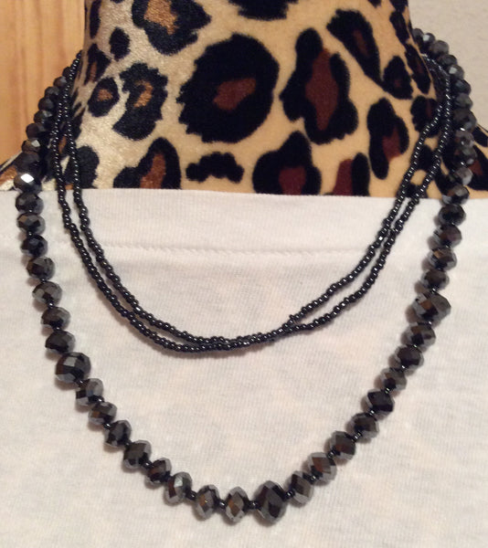 Jet Black Facetted Crystal Necklace