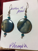 Blue Mother of Pearl Discs Stainless Earrings